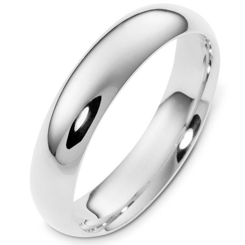 White Gold 5.0 mm Wide Comfort Fit Wedding Ring