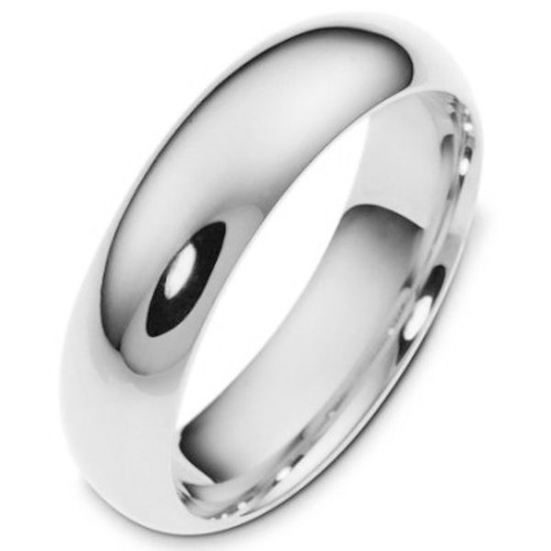 White Gold 6.0 mm Wide Plain Comfort Fit Band