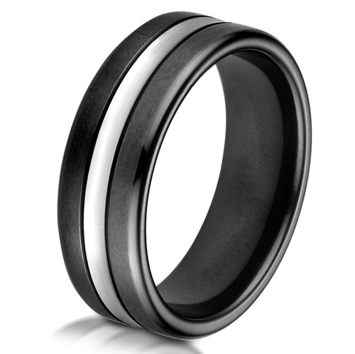 Black & White Cobalt Chrome Wedding Ring
