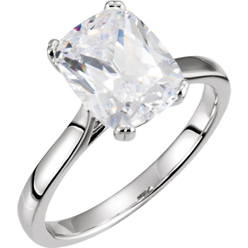 Cathedral Cushion Cut Solitaire Engagement Ring