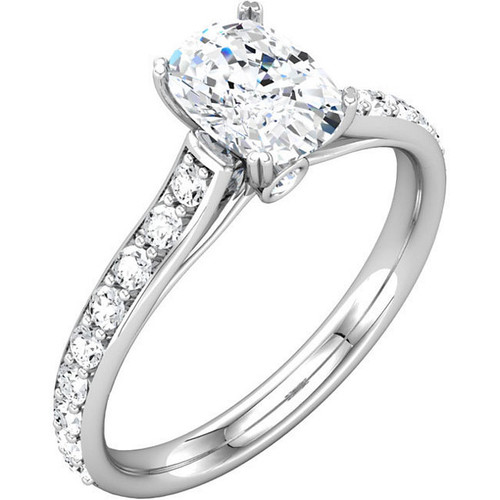 Diamond Accent Cathedral Engagement Ring