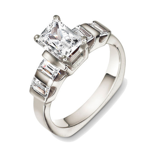 14Kt White Gold Baguette Diamond Accents Engagement Ring