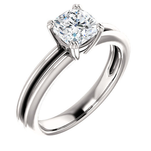 14Kt White Gold Solitaire Cushion Cut Engagement Ring