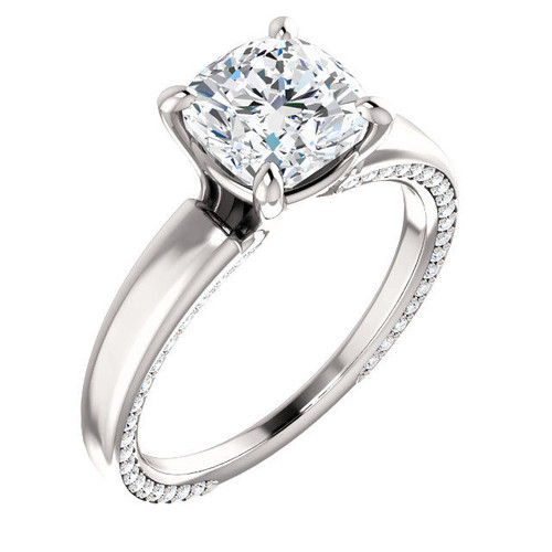 Platinum Cushion Cut Diamond Accent Engagement Ring