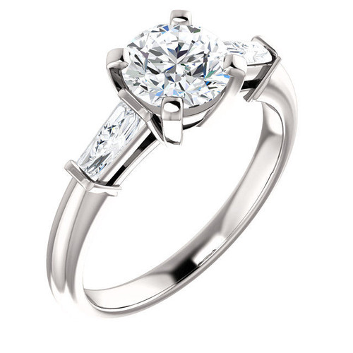 14Kt White Gold Tapered Baguette Diamond Accent Engagement Ring