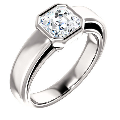 14Kt White Gold Asscher Cut Solitaire Engagement Ring