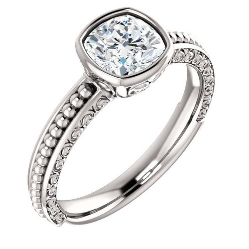 14Kt White Gold Solitaire Carved Engagement Ring