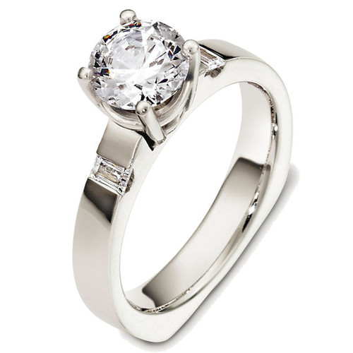 14Kt White Gold Baguette Three-Stone Engagement Ring