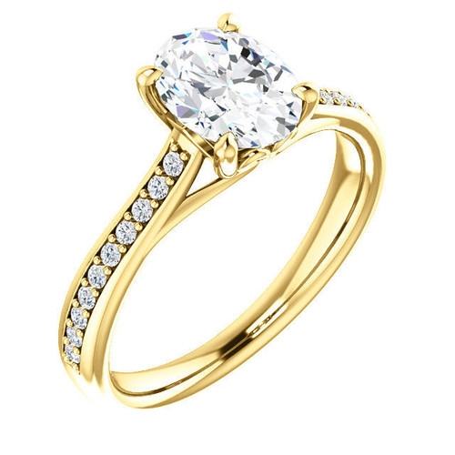 Yellow Gold Oval Diamond Engagement Ring