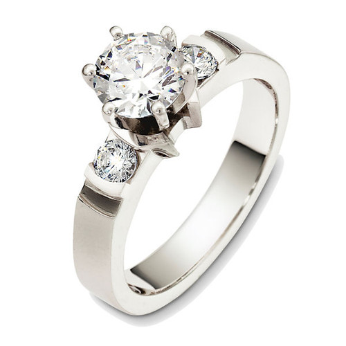14Kt White Gold Round 3-Stone Diamond Engagement Ring