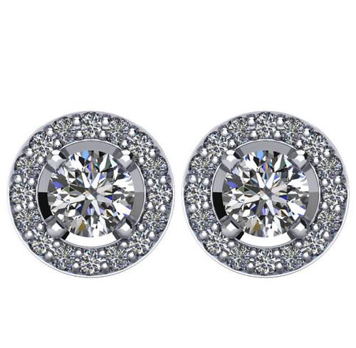 Halo, 1.375 CT TW Diamond Stud Earrings