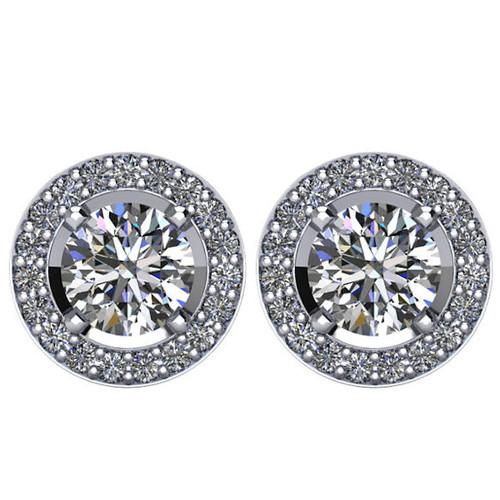 Halo, 1.90 CT TW Diamond Stud Earrings