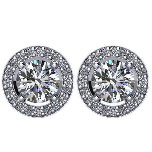 Halo, 2.5 CT TW Diamond Stud Earrings