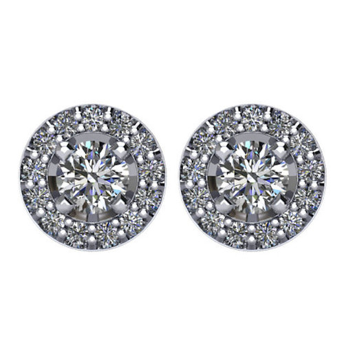 Halo, 3/8 CT TW Diamond Stud Earrings