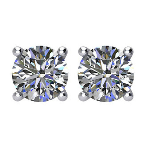 3/4 CT TW Round Diamond Stud Earrings