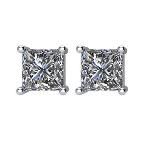 1.5 CT TW Princess Cut Diamond Stud Earrings