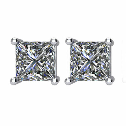 2.0 CT TW Princess Cut Diamond Stud Earrings