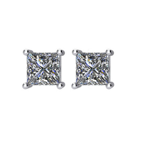 3/4 CT TW Princess Cut Diamond Stud Earrings