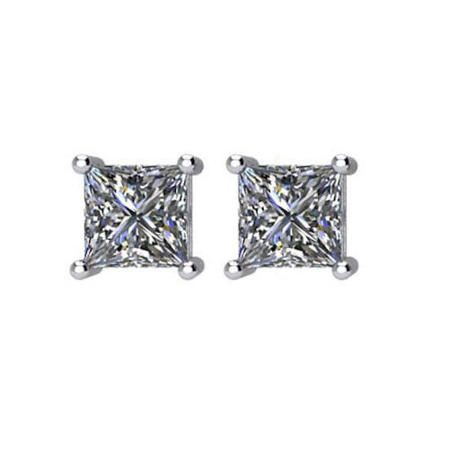 3/4 CT TW Princess Cut Diamond Stud Earrings
