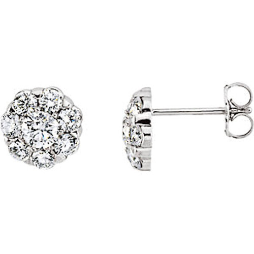 14Kt White Gold 0.375 ct tw Diamond Cluster Earrings