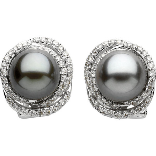 Black Tahitian & Diamond Earrings
