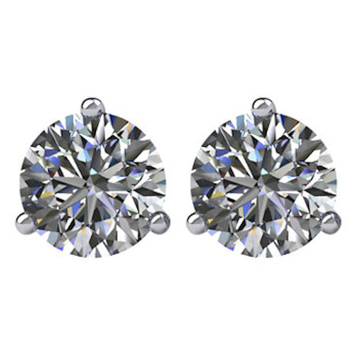 3-Prong Cocktail Round 1.0 CT TW Stud Earrings