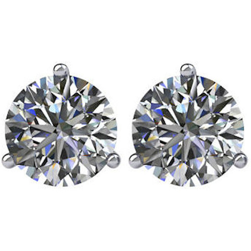 3-Prong Cocktail Round 1.5 CT TW Stud Earrings
