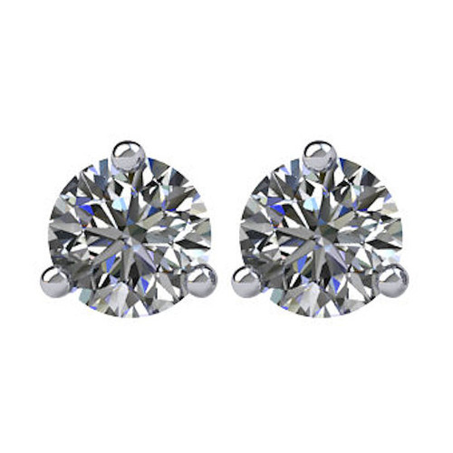 3-Prong Cocktail Round 1/2 CT TW Stud Earrings