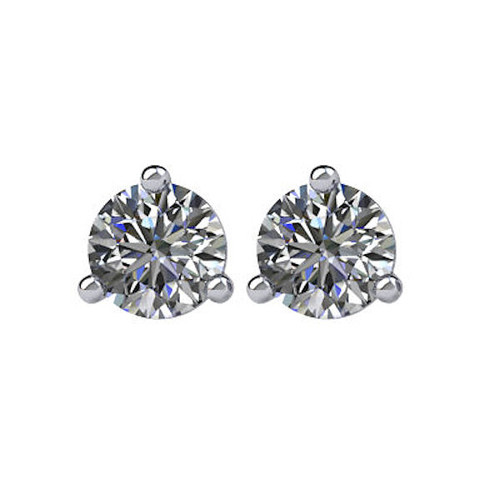 3-Prong Cocktail Round 1/3 CT TW Stud Earrings