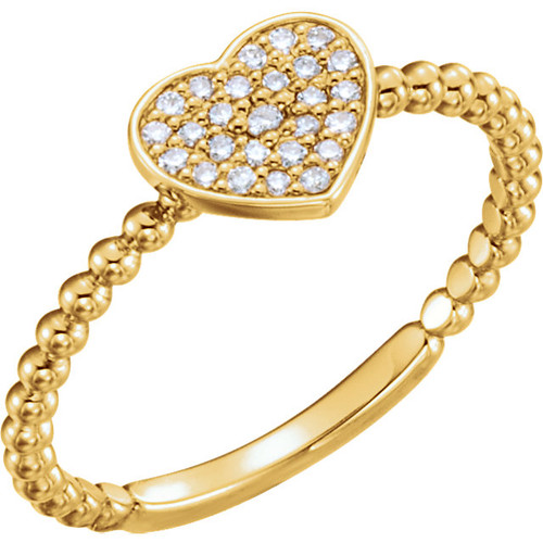 Yellow Gold Beaded Diamond Petite Heart Ring