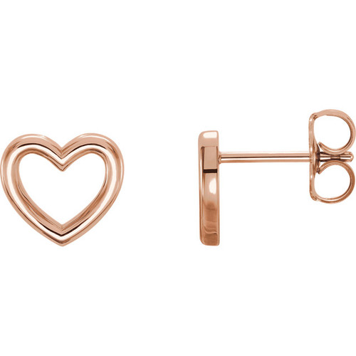 Rose Gold Classic Heart Shape Earrings