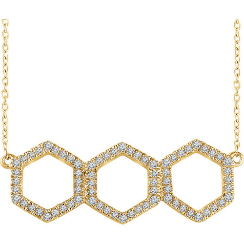 Yellow Gold Triple Hexagon Diamond Necklace