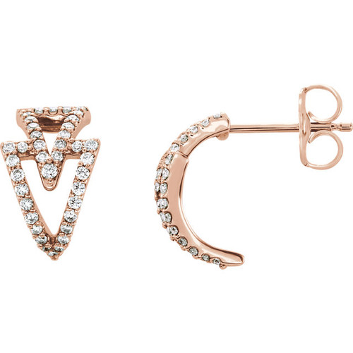 Rose Gold Geometric J-Hoop Diamond Earrings