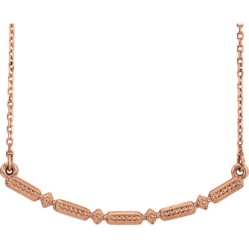 Rose Gold Beaded Bar Necklace