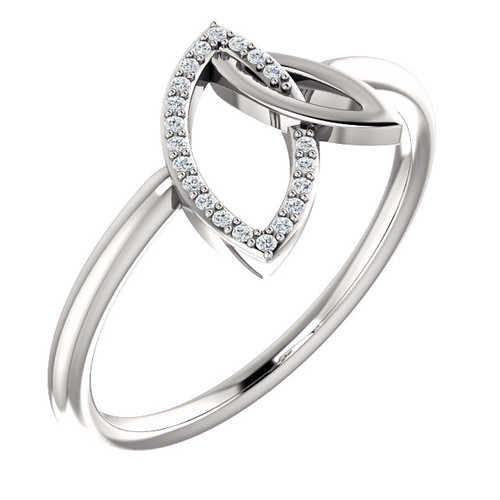 White Gold Double Leaf Diamond Ring