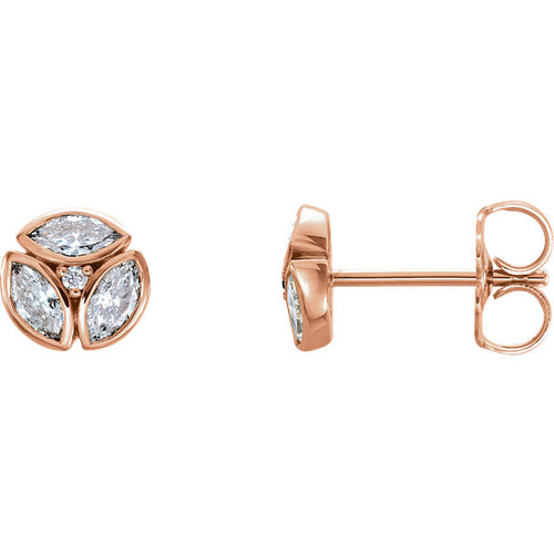 Rose Gold Diamond Petite Marquise Earrings