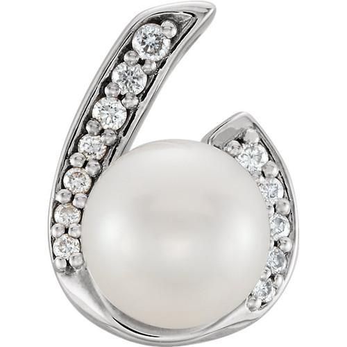White Gold Pearl & Diamond Pendant