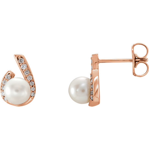 Rose Gold Diamond & Pearl Earrings