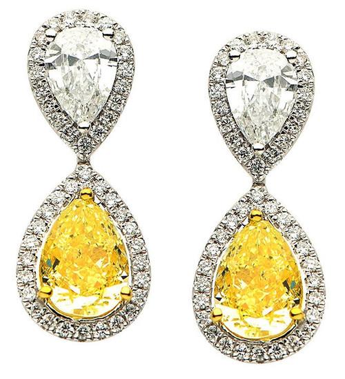 Fancy Yellow Diamond Earrings 6.01 Ct Tw.