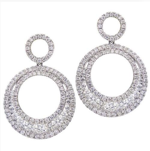 Circular Diamond Drop Earrings 1.88 Ct Tw