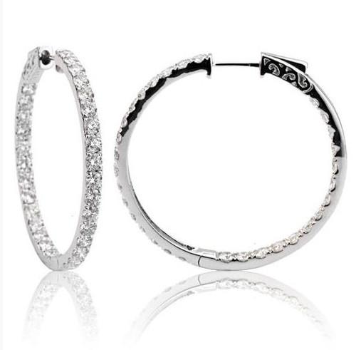 4.25 Ct Tw Diamond Hoop Earrings
