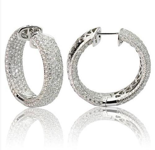 Diamond Pave Hoop Earrings 6.58 Ct Tw
