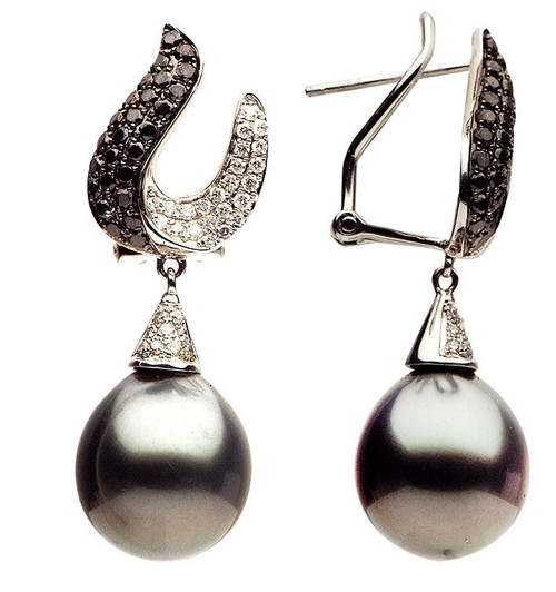 Black & White Diamond Tahitian Cultured Pearl Earrings