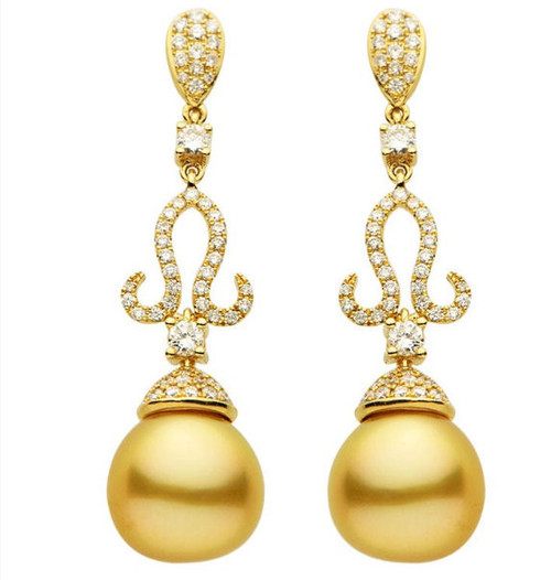 1.04 Ct Tw Diamond & Golden South Sea Cultured Pearl Earrings