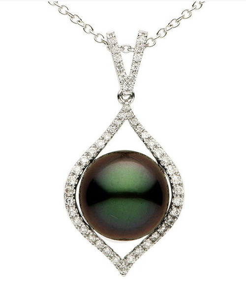 12MM Tahitian Pearl & Diamond Pendant