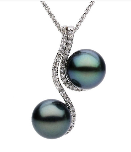 Double Tahitian Pearl & Diamond Pendant