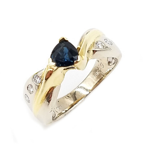 14kt two-tone genuine blue sapphire & diamond ring