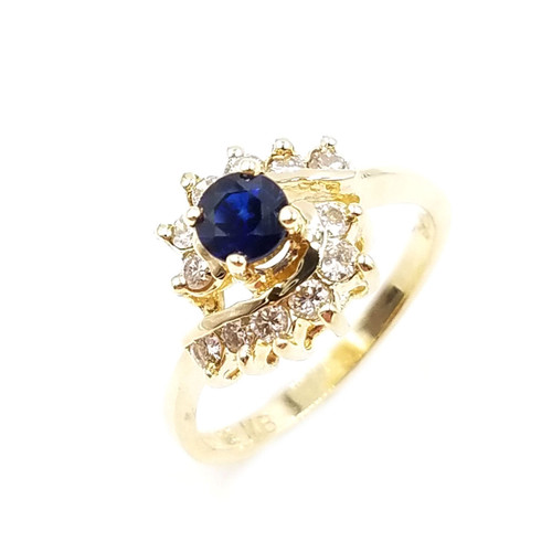 14kt yellow gold genuine blue sapphire & diamond ring