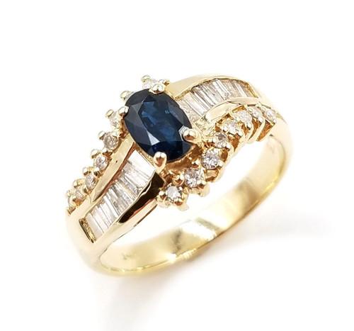 Diamond & Oval Genuine Blue Sapphire Ring