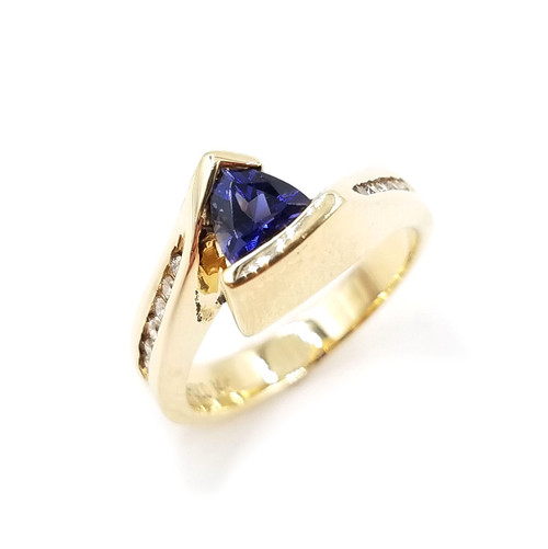 Trillion Cut Genuine Tanzanite & Diamond Ring